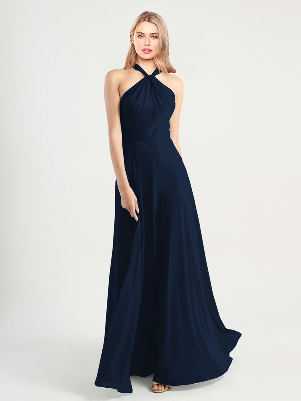 Long A-Line High Neck, Halter Sleeveless Dark Navy Chiffon Bridesmaid Dress Yoli