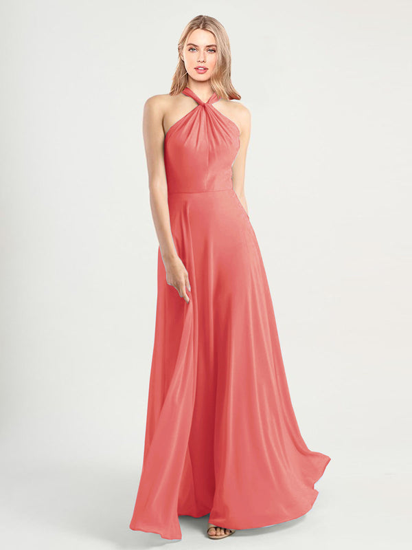 Long A-Line High Neck, Halter Sleeveless Desert Rose Chiffon Bridesmaid Dress Yoli