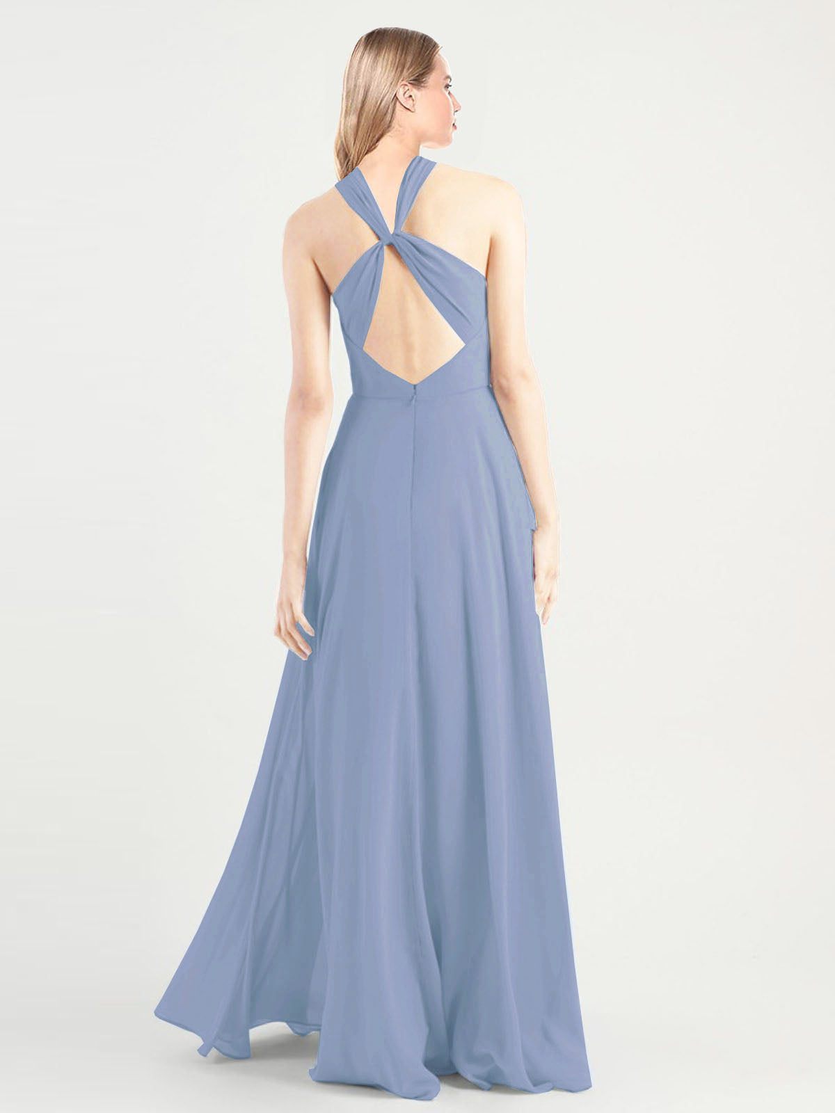 Long A-Line High Neck, Halter Sleeveless Dusty Blue Chiffon Bridesmaid Dress Yoli