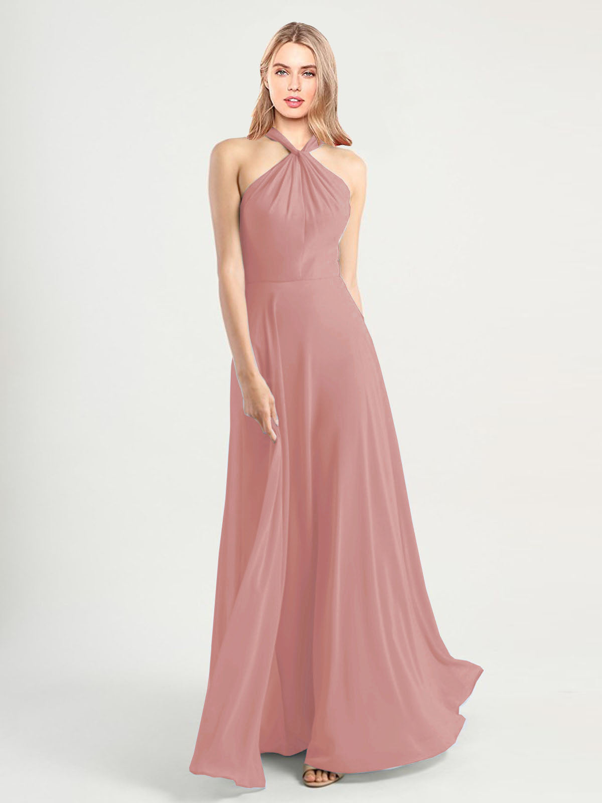 Long A-Line High Neck, Halter Sleeveless Dusty Pink Chiffon Bridesmaid Dress Yoli