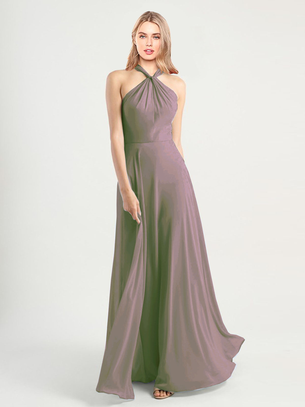 Long A-Line High Neck, Halter Sleeveless Dusty Rose Chiffon Bridesmaid Dress Yoli