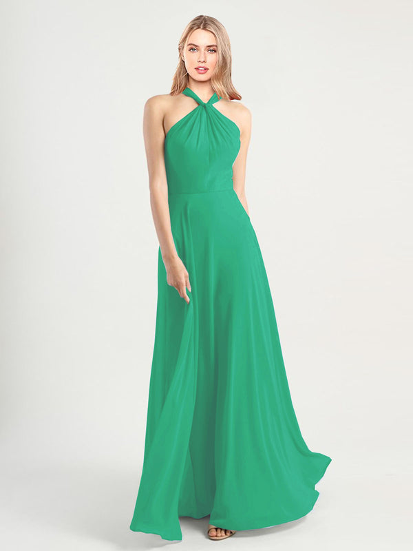 Long A-Line High Neck, Halter Sleeveless Emerald Green Chiffon Bridesmaid Dress Yoli