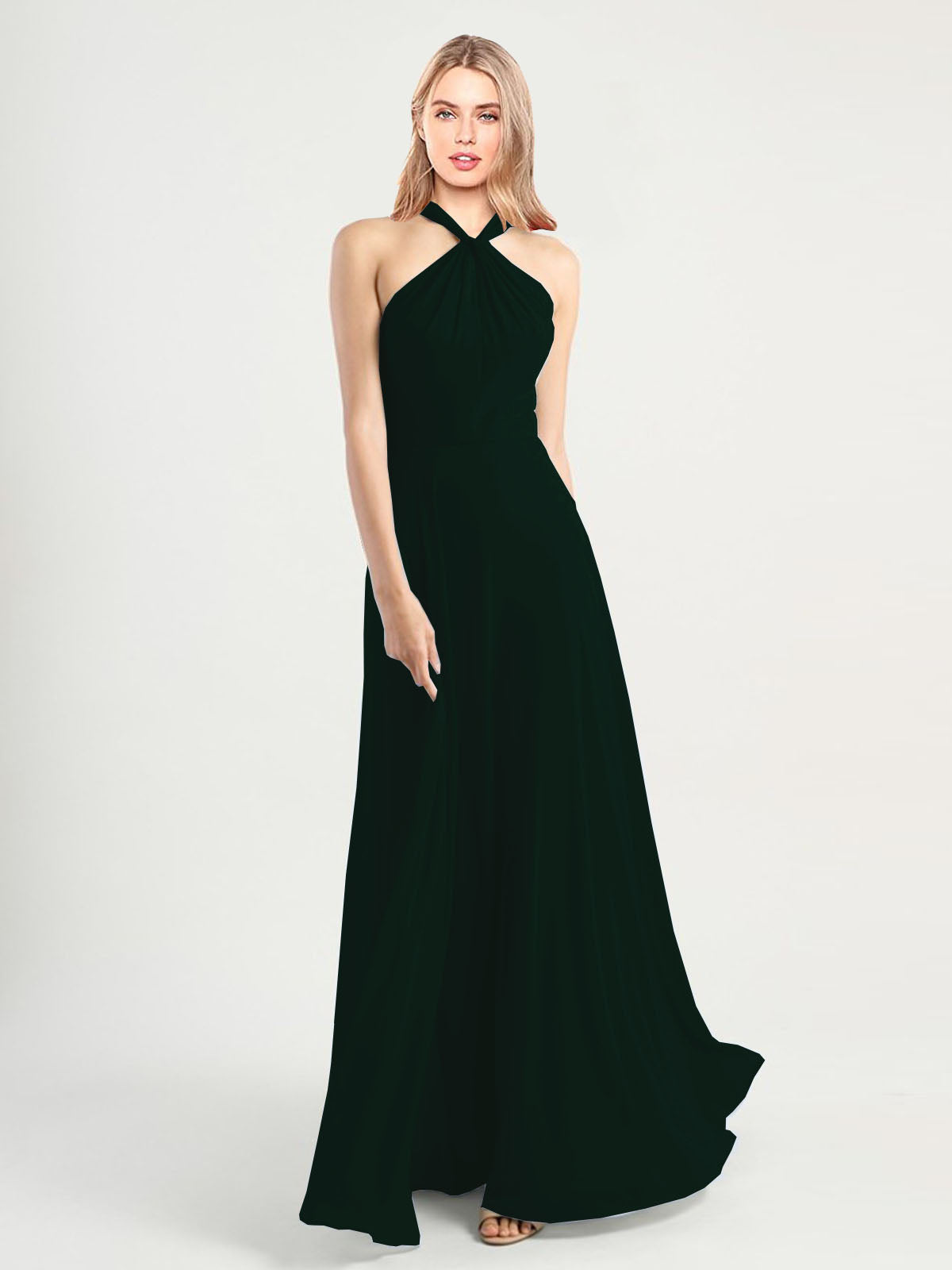 Long A-Line High Neck, Halter Sleeveless Ever Green Chiffon Bridesmaid Dress Yoli