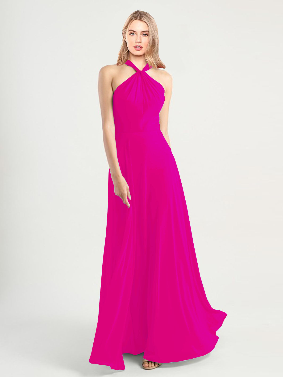 Long A-Line High Neck, Halter Sleeveless Fuchsia Chiffon Bridesmaid Dress Yoli