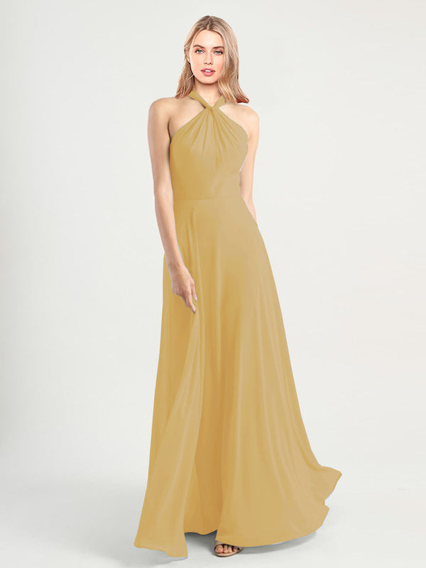 Long A-Line High Neck, Halter Sleeveless Gold Chiffon Bridesmaid Dress Yoli