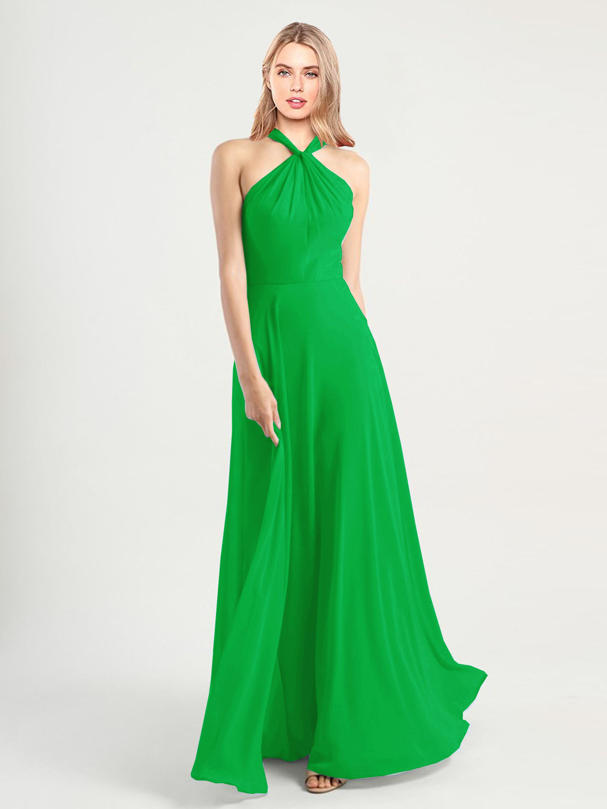 Long A-Line High Neck, Halter Sleeveless Green Chiffon Bridesmaid Dress Yoli