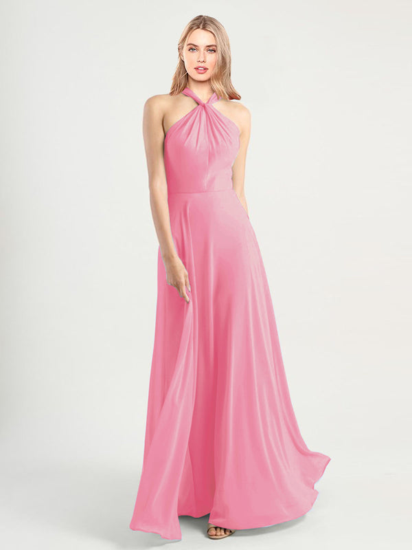 Long A-Line High Neck, Halter Sleeveless Hot Pink Chiffon Bridesmaid Dress Yoli