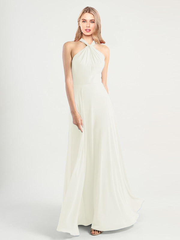 Long A-Line High Neck, Halter Sleeveless Ivory Chiffon Bridesmaid Dress Yoli