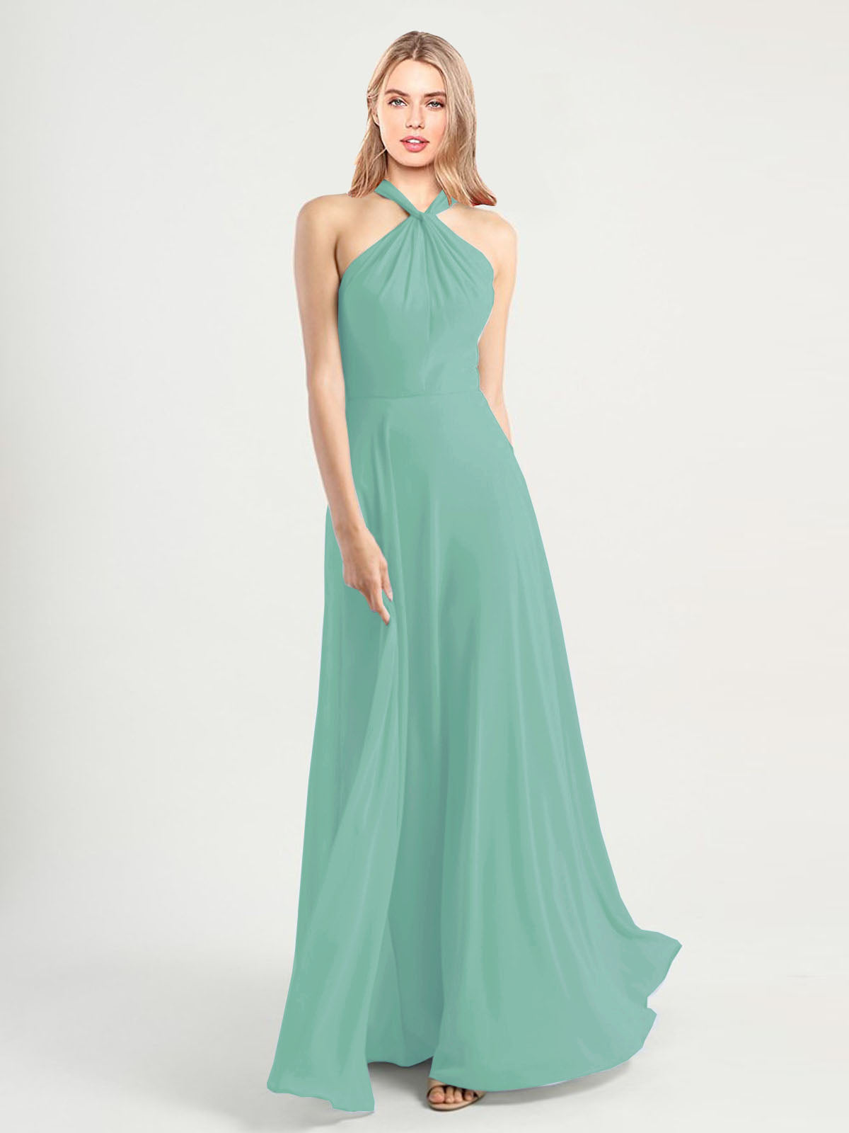 Long A-Line High Neck, Halter Sleeveless Jade Chiffon Bridesmaid Dress Yoli