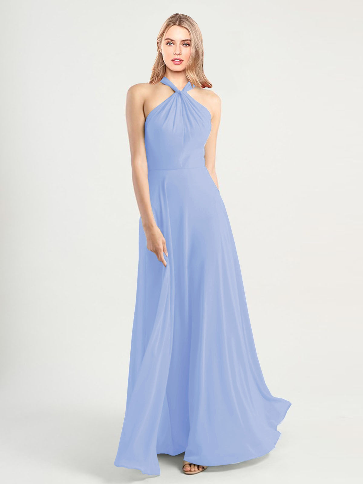 Long A-Line High Neck, Halter Sleeveless Lavender Chiffon Bridesmaid Dress Yoli