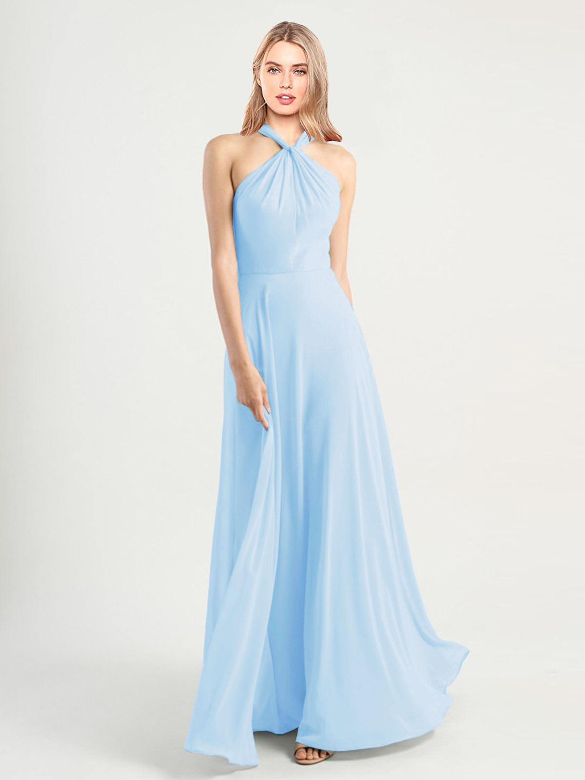 Long A-Line High Neck, Halter Sleeveless Light Sky Blue Chiffon Bridesmaid Dress Yoli