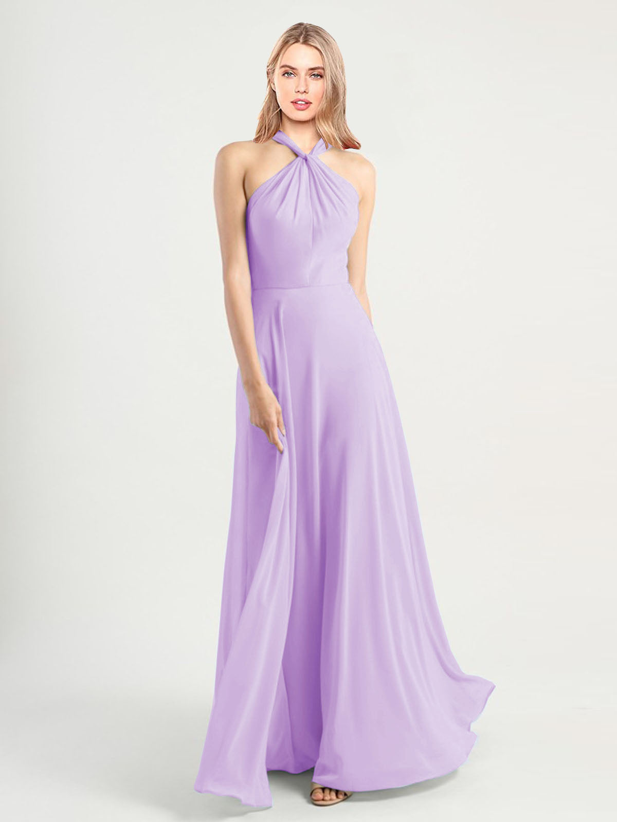 Long A-Line High Neck, Halter Sleeveless Lilac Chiffon Bridesmaid Dress Yoli
