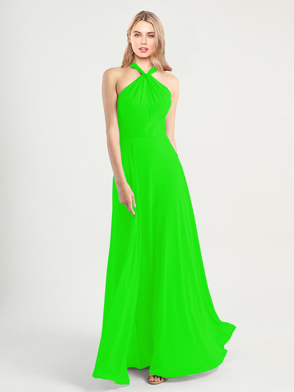 Long A-Line High Neck, Halter Sleeveless Lime Green Chiffon Bridesmaid Dress Yoli