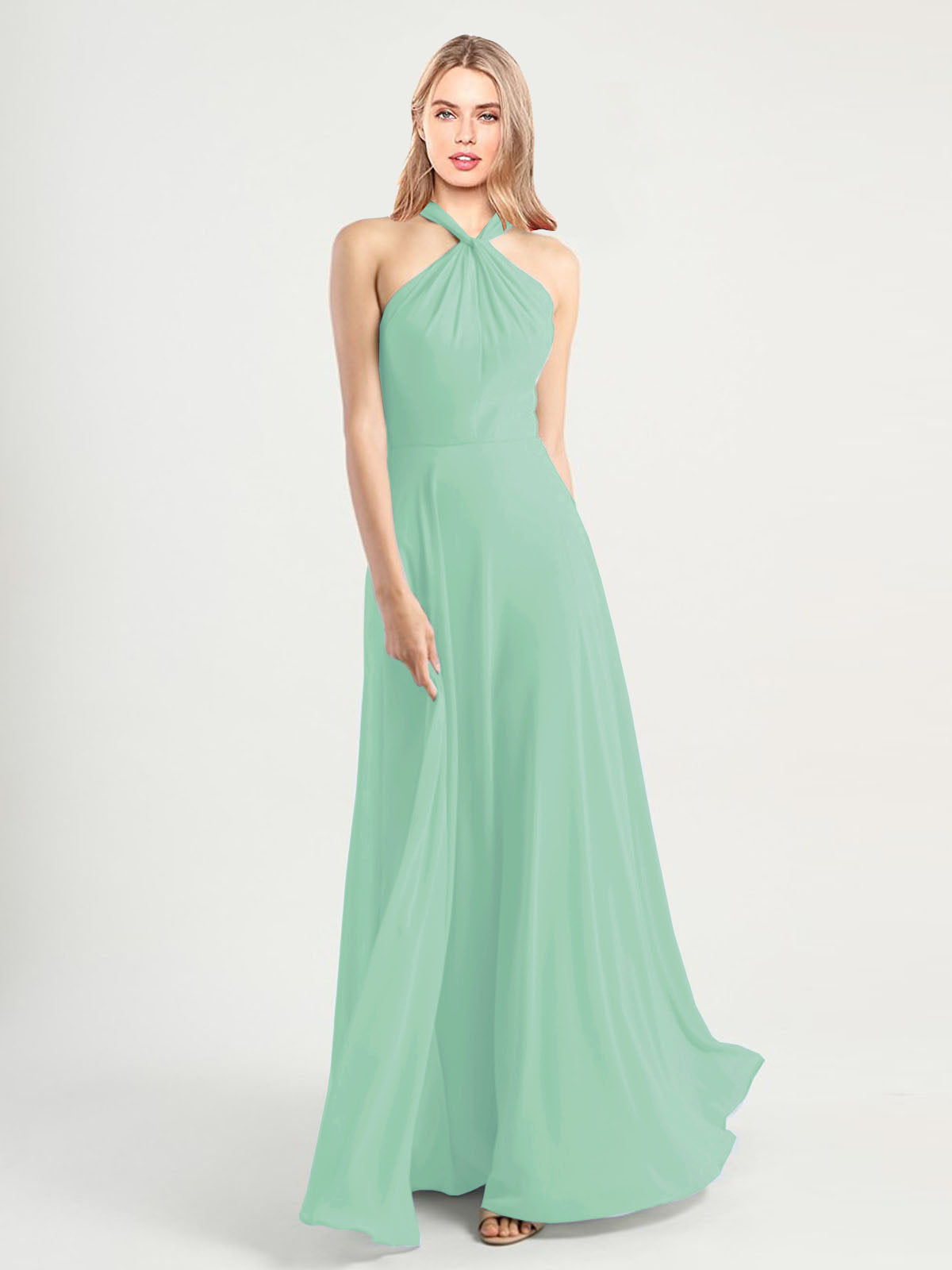 Long A-Line High Neck, Halter Sleeveless Mint Green Chiffon Bridesmaid Dress Yoli