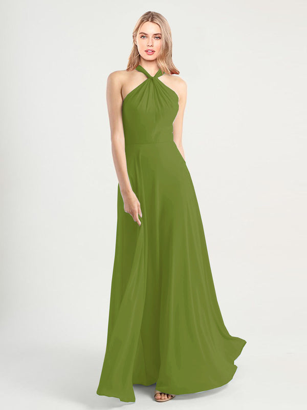 Long A-Line High Neck, Halter Sleeveless Olive Green Chiffon Bridesmaid Dress Yoli