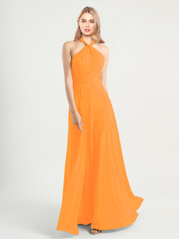 Long A-Line High Neck, Halter Sleeveless Orange Chiffon Bridesmaid Dress Yoli