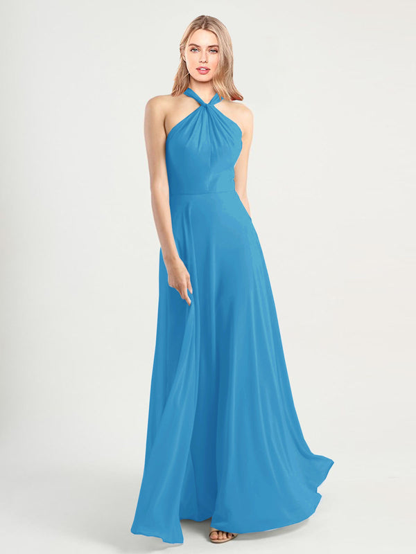 Long A-Line High Neck, Halter Sleeveless Peacock Blue Chiffon Bridesmaid Dress Yoli