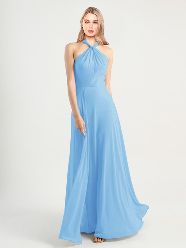 Long A-Line High Neck, Halter Sleeveless Periwinkle Chiffon Bridesmaid Dress Yoli