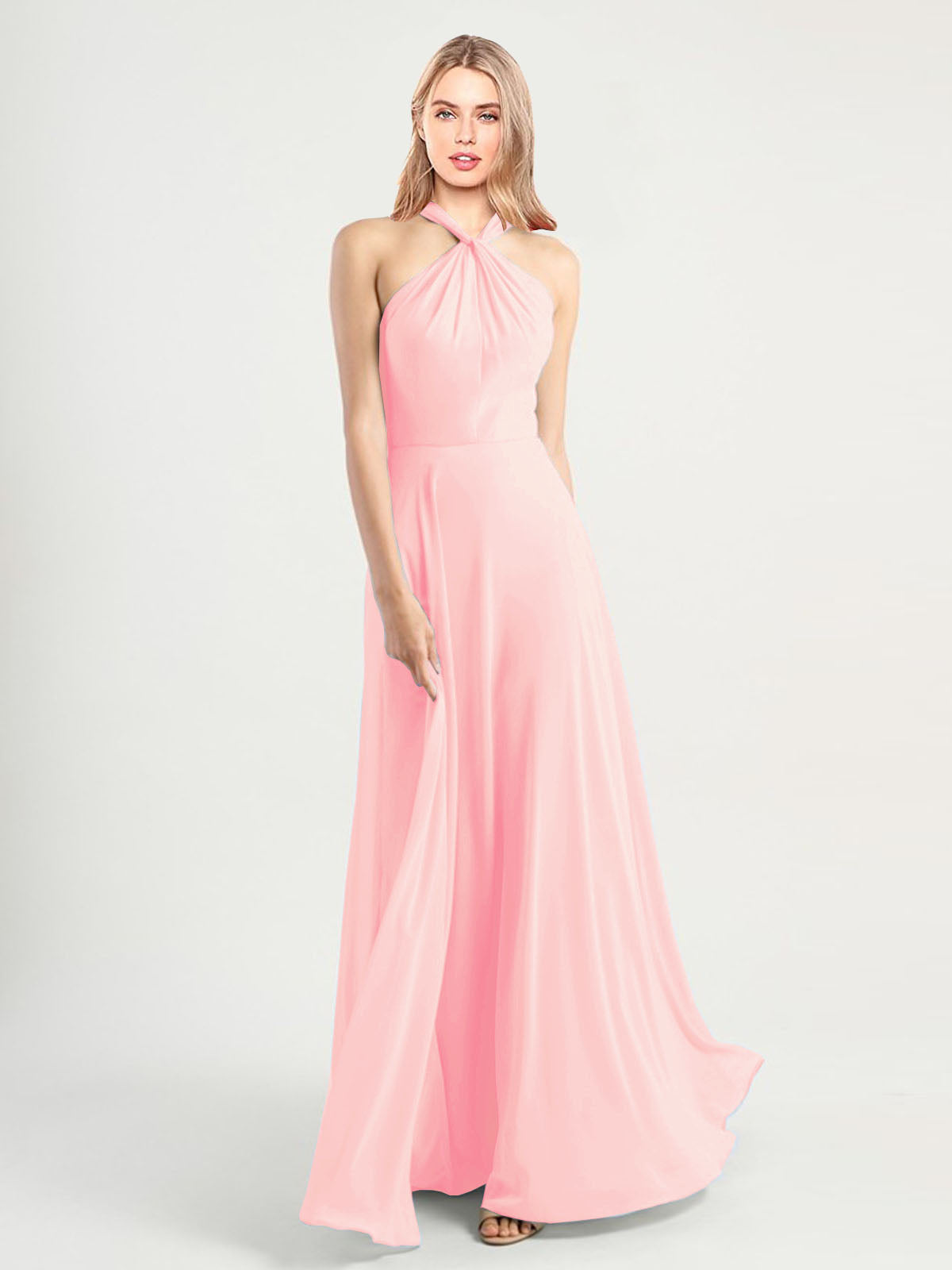 Long A-Line High Neck, Halter Sleeveless Pink Chiffon Bridesmaid Dress Yoli