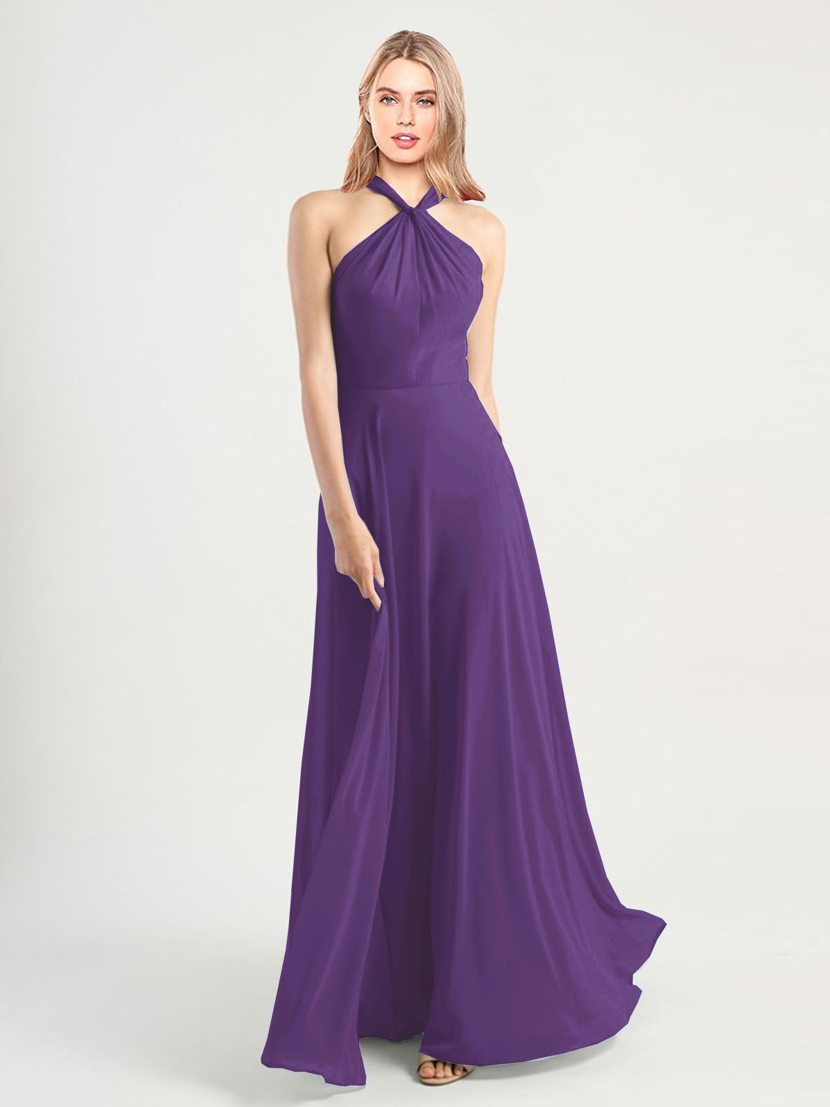 Long A-Line High Neck, Halter Sleeveless Plum Purple Chiffon Bridesmaid Dress Yoli