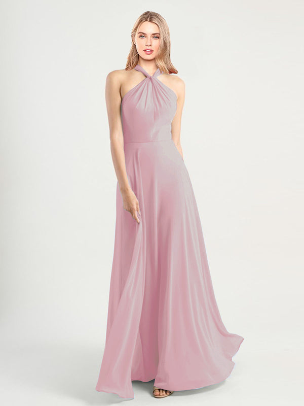 Long A-Line High Neck, Halter Sleeveless Primrose Chiffon Bridesmaid Dress Yoli