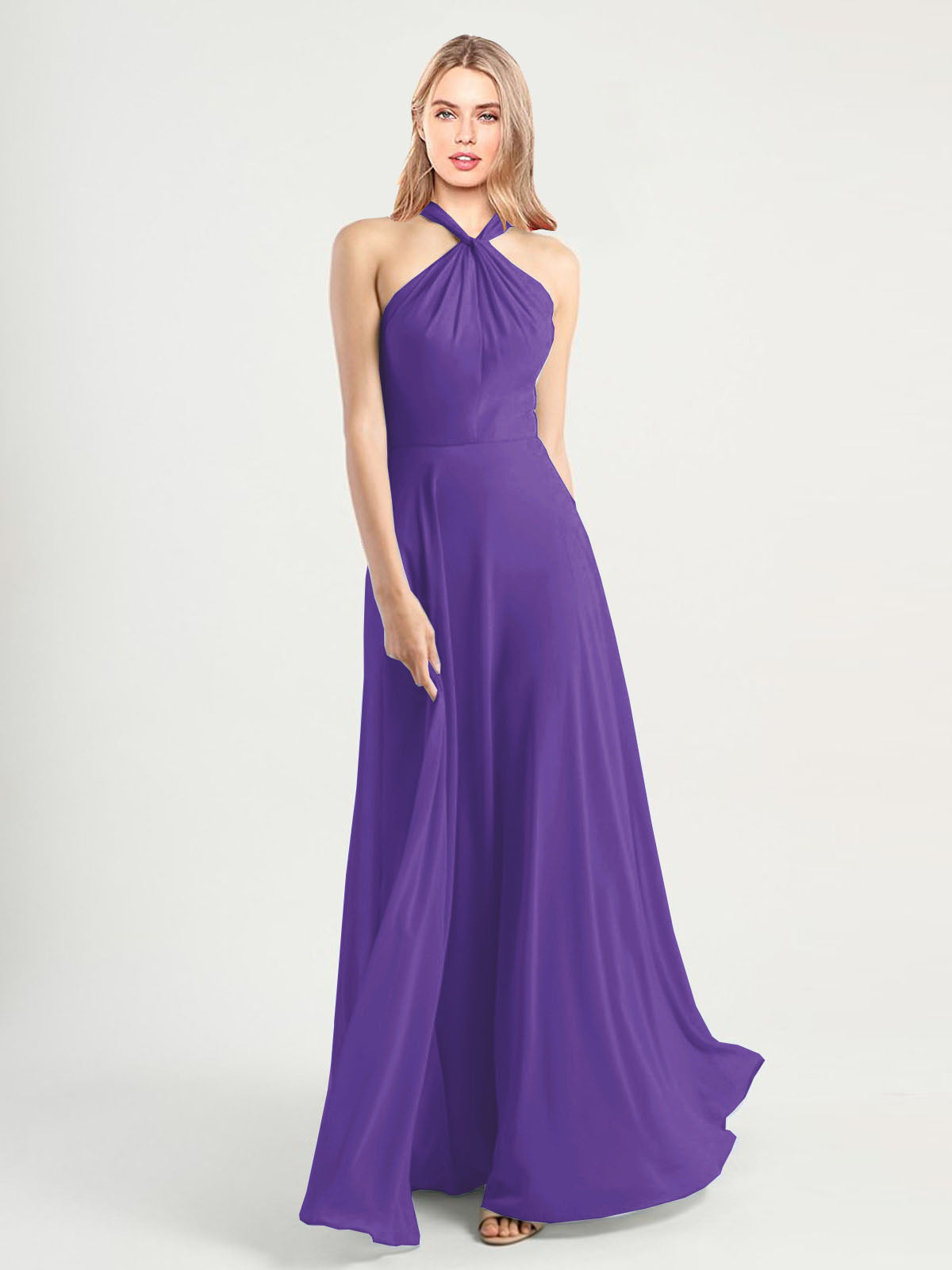 Long A-Line High Neck, Halter Sleeveless Purple Chiffon Bridesmaid Dress Yoli