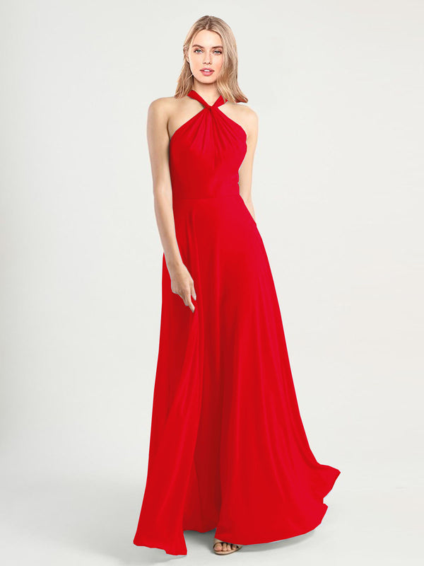 Long A-Line High Neck, Halter Sleeveless Red Chiffon Bridesmaid Dress Yoli