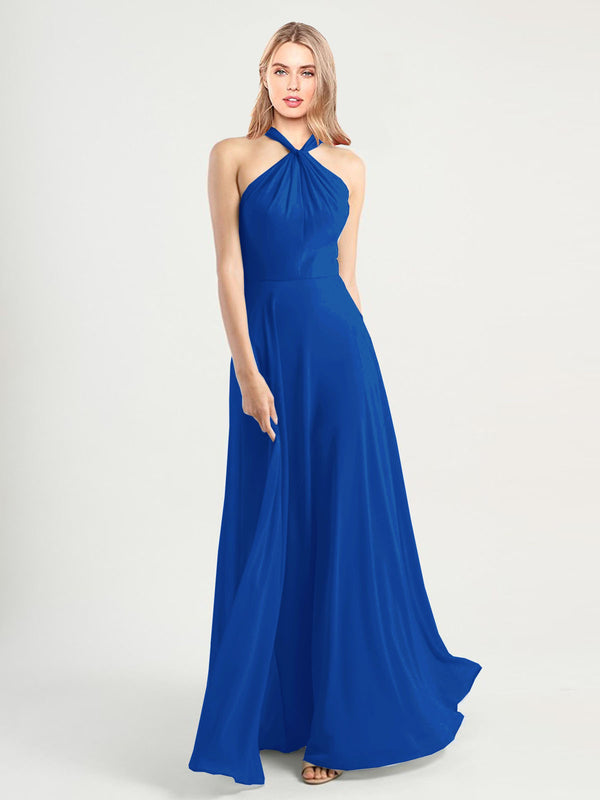 Long A-Line High Neck, Halter Sleeveless Royal Blue Chiffon Bridesmaid Dress Yoli