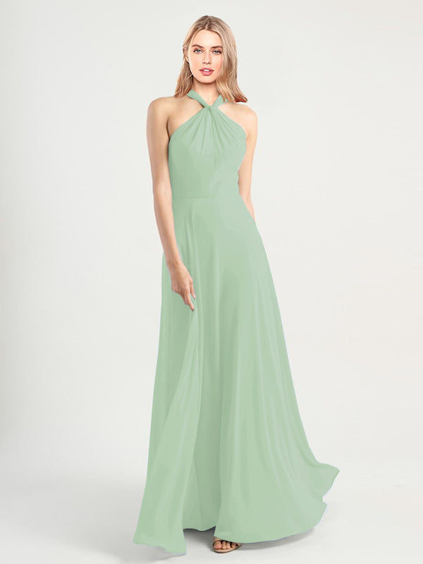 Long A-Line High Neck, Halter Sleeveless Sage Chiffon Bridesmaid Dress Yoli