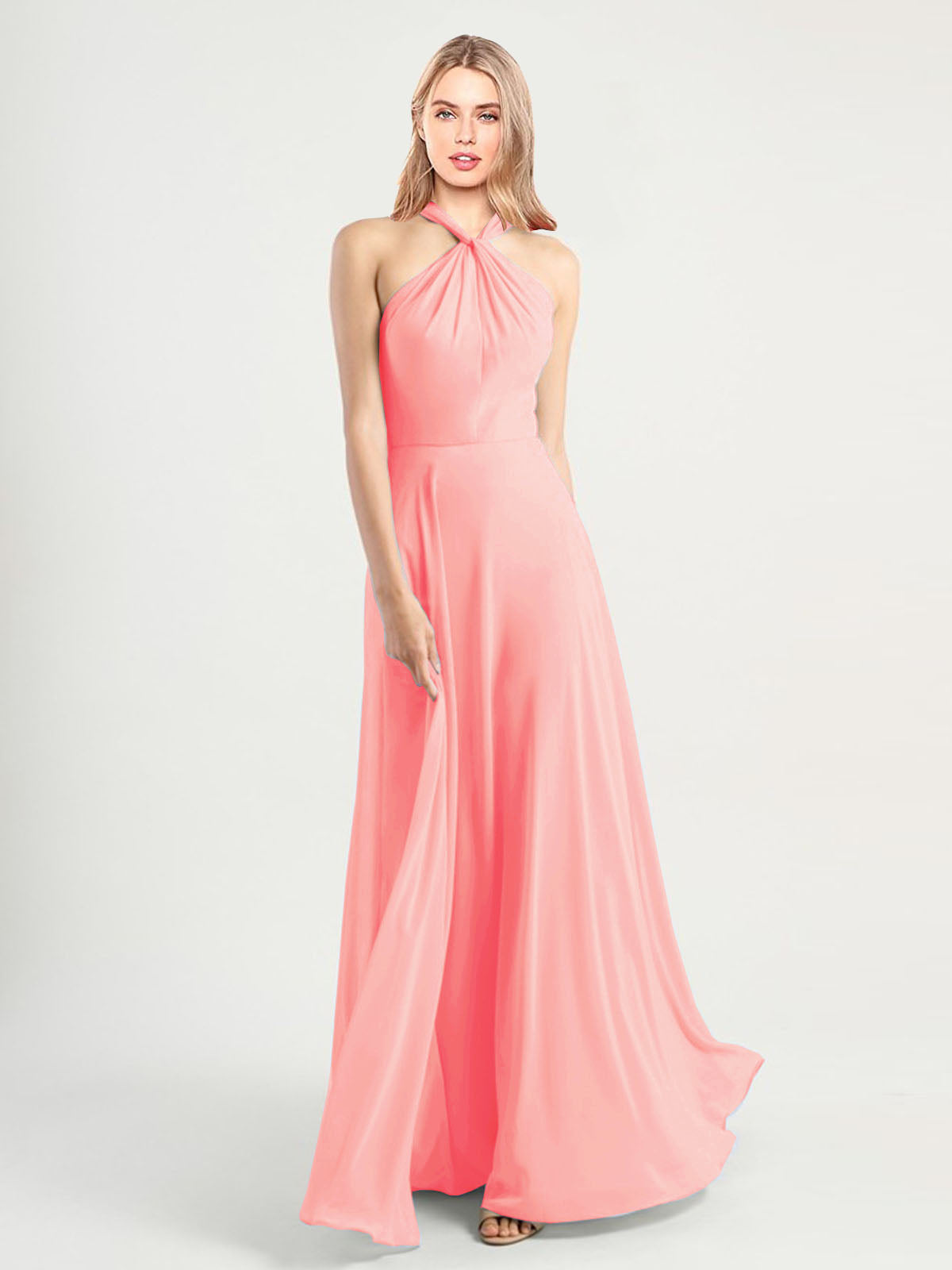 Long A-Line High Neck, Halter Sleeveless Salmon Chiffon Bridesmaid Dress Yoli