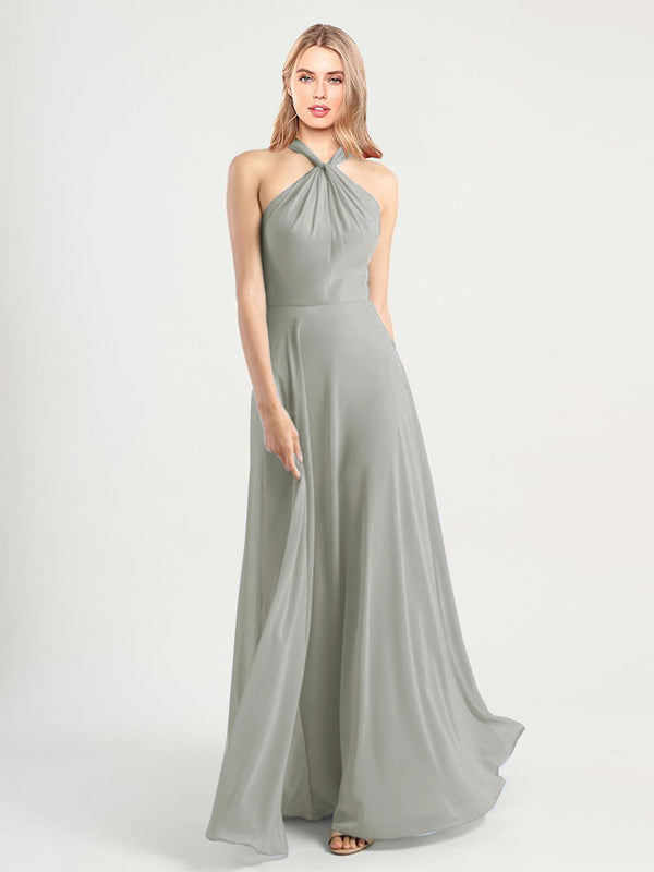 Long A-Line High Neck, Halter Sleeveless Silver Chiffon Bridesmaid Dress Yoli