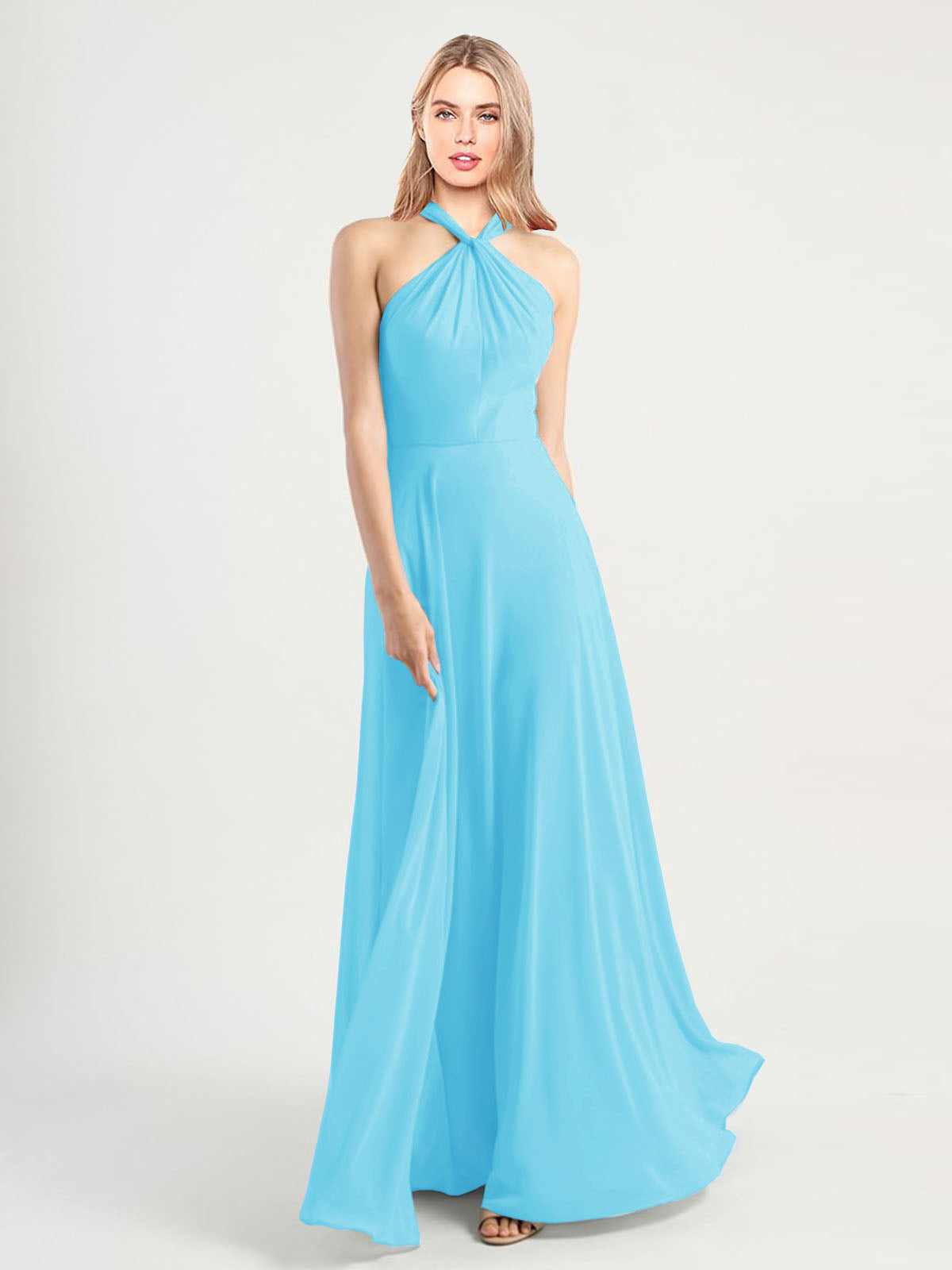 Long A-Line High Neck, Halter Sleeveless Sky Blue Chiffon Bridesmaid Dress Yoli