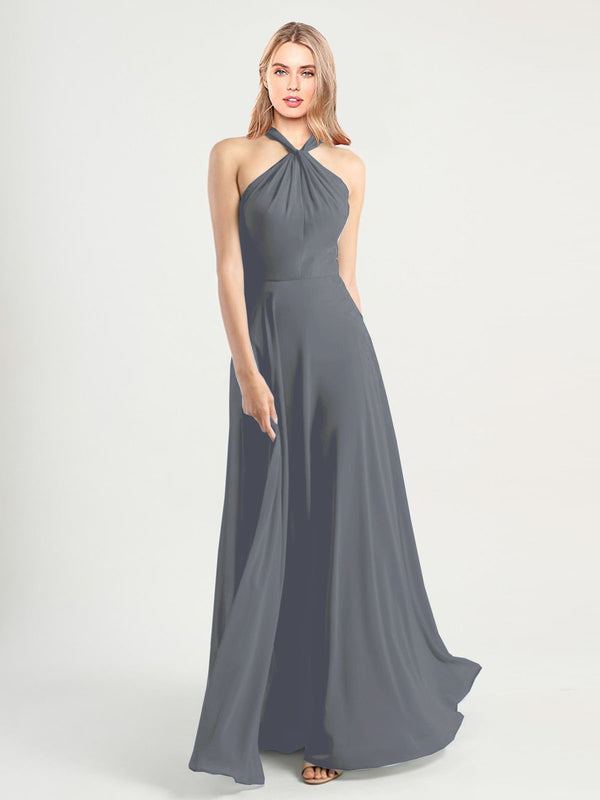 Long A-Line High Neck, Halter Sleeveless Slate Grey Chiffon Bridesmaid Dress Yoli