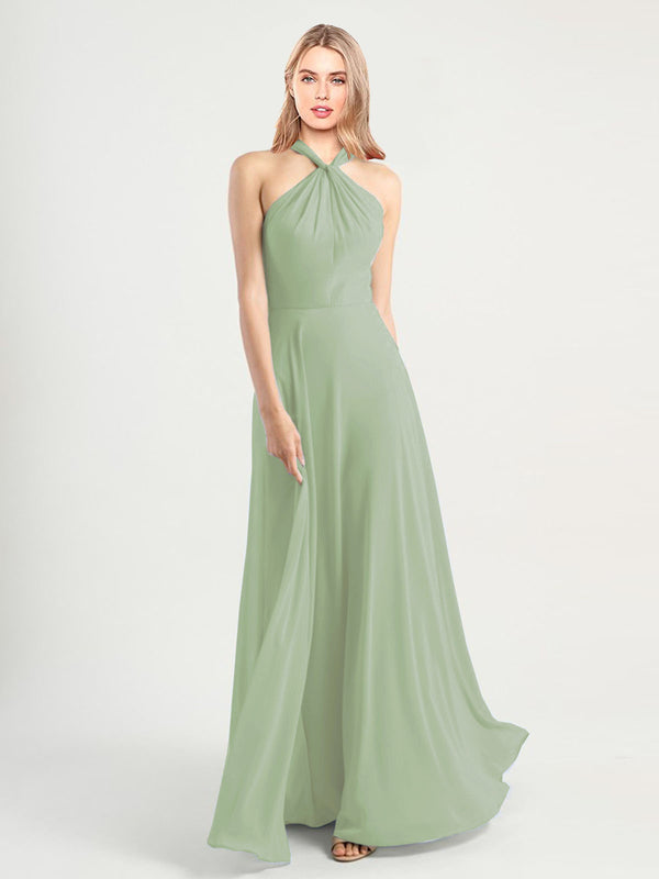 Long A-Line High Neck, Halter Sleeveless Smoke Green Chiffon Bridesmaid Dress Yoli