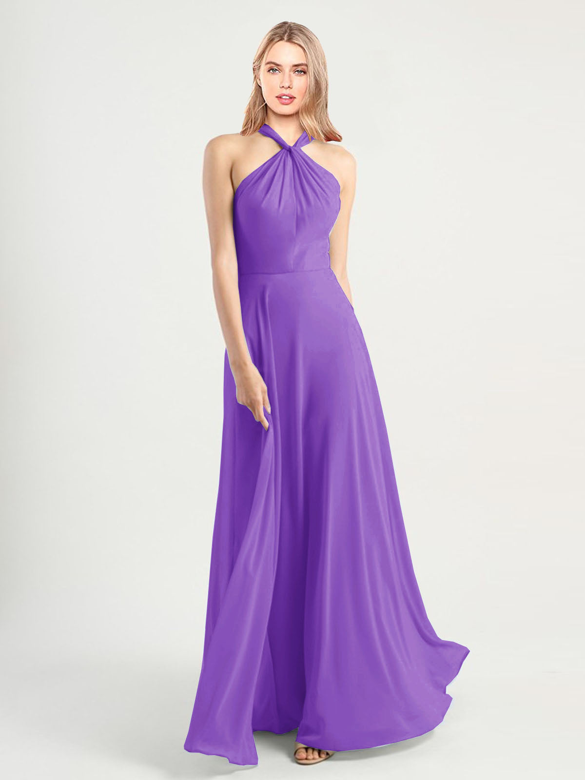 Long A-Line High Neck, Halter Sleeveless Tahiti Chiffon Bridesmaid Dress Yoli