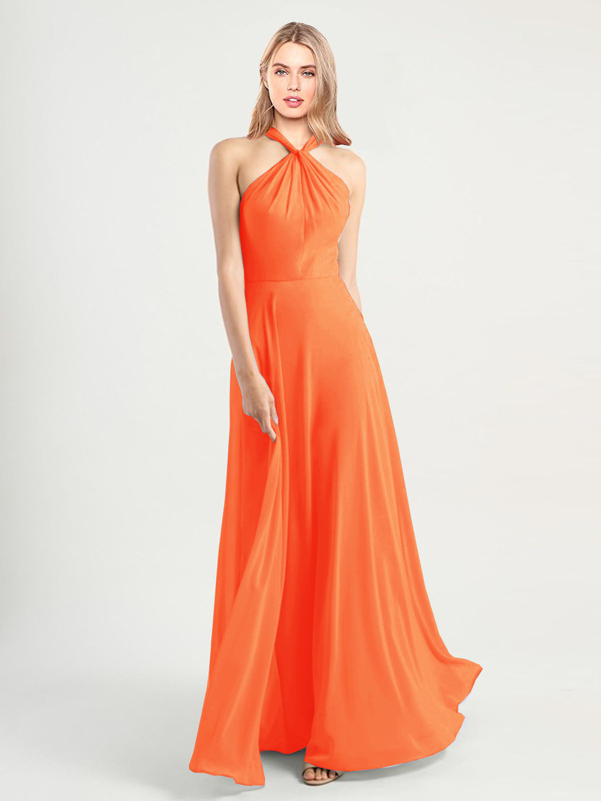 Long A-Line High Neck, Halter Sleeveless Tangerine Tango Chiffon Bridesmaid Dress Yoli
