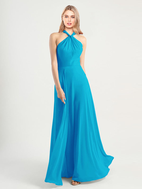 Long A-Line High Neck, Halter Sleeveless Turquoise Chiffon Bridesmaid Dress Yoli