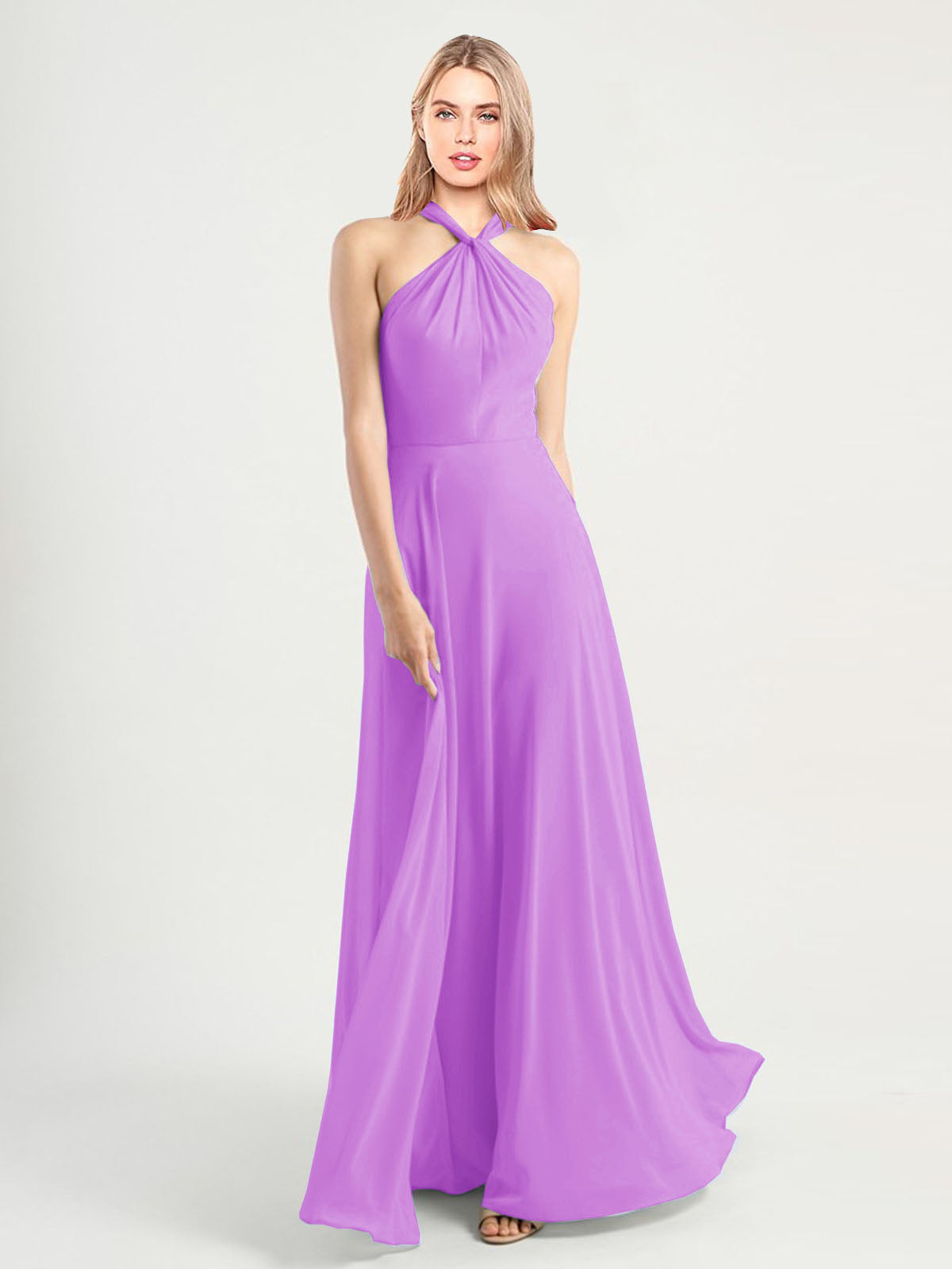 Long A-Line High Neck, Halter Sleeveless Violet Chiffon Bridesmaid Dress Yoli