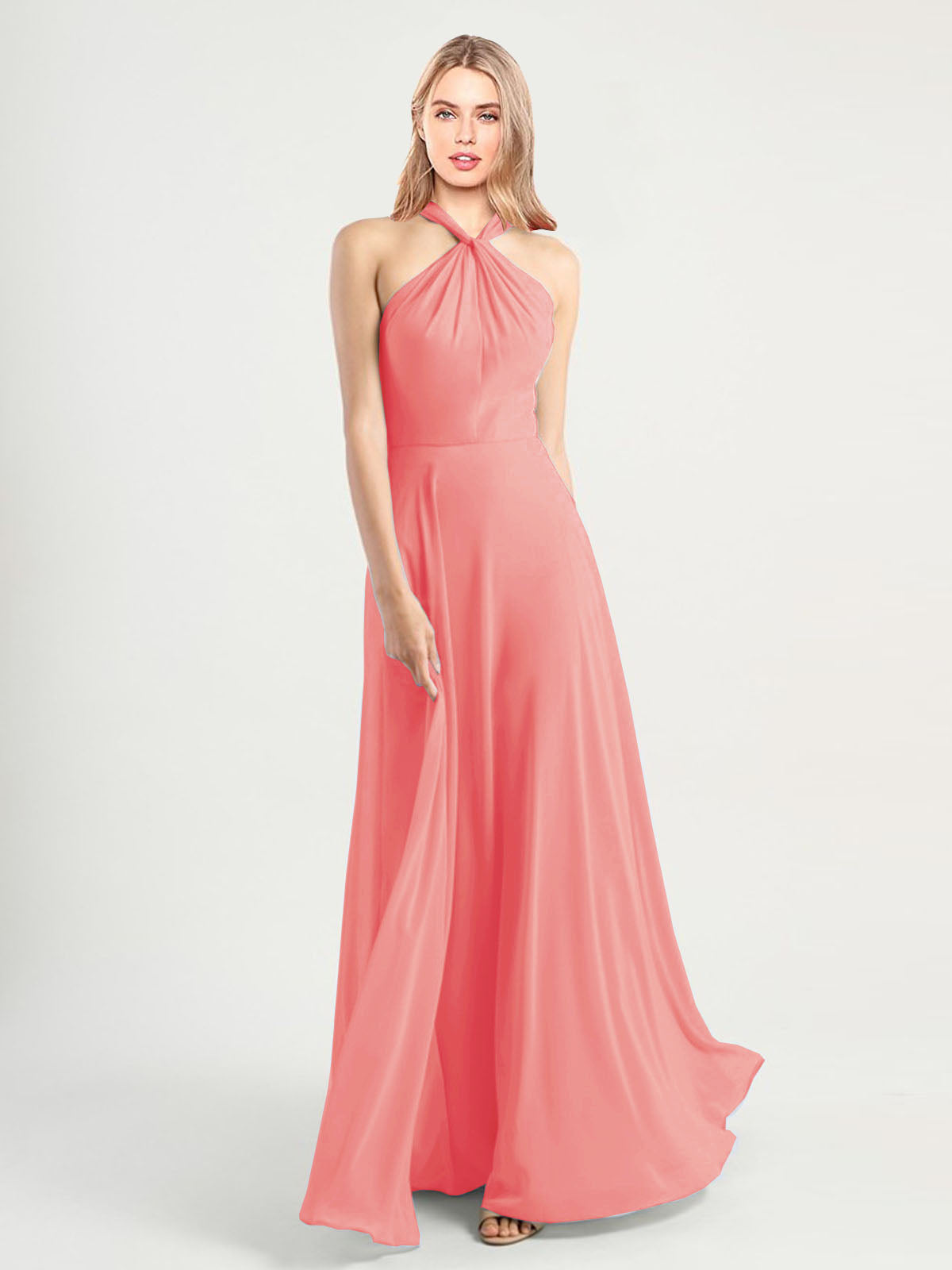 Long A-Line High Neck, Halter Sleeveless Watermelon Chiffon Bridesmaid Dress Yoli