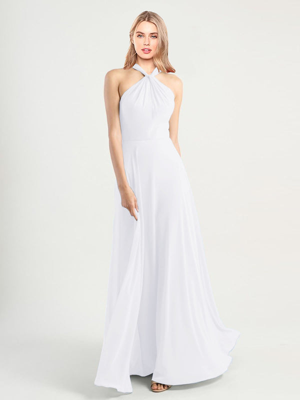 Long A-Line High Neck, Halter Sleeveless White Chiffon Bridesmaid Dress Yoli
