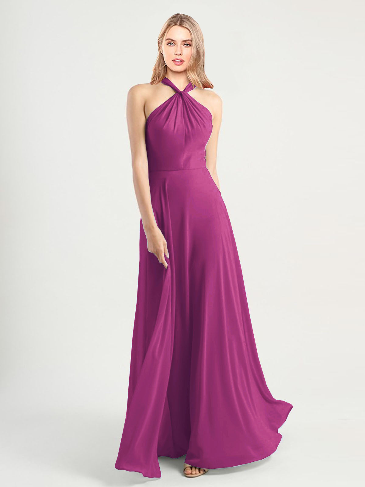 Long A-Line High Neck, Halter Sleeveless Wild Berry Chiffon Bridesmaid Dress Yoli