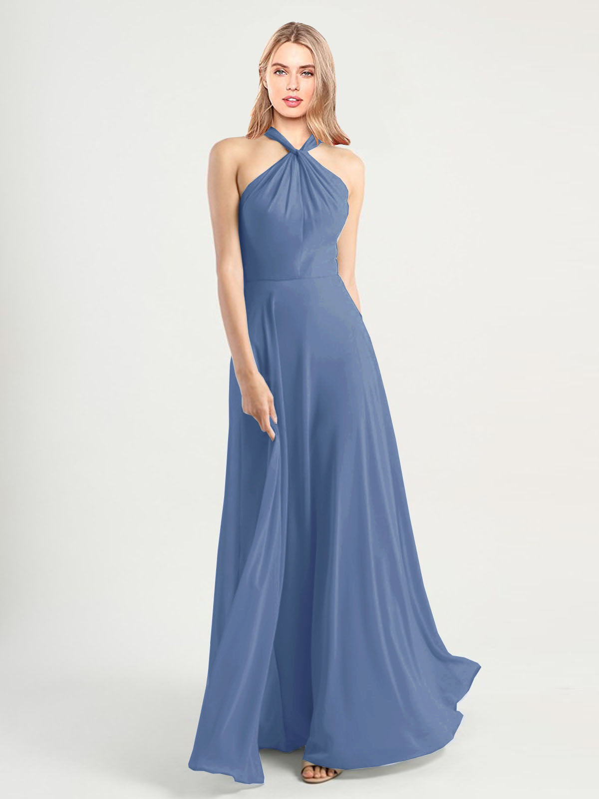 Long A-Line High Neck, Halter Sleeveless Windsor Blue Chiffon Bridesmaid Dress Yoli