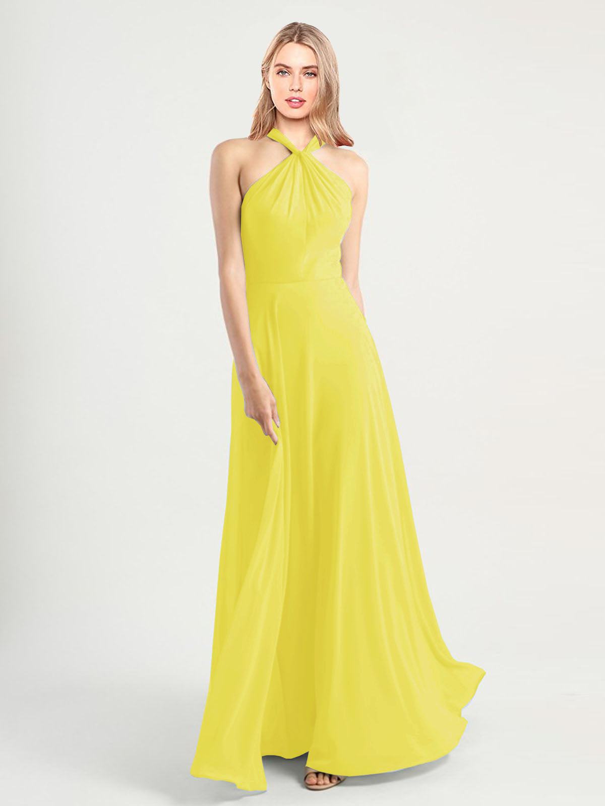 Long A-Line High Neck, Halter Sleeveless Yellow Chiffon Bridesmaid Dress Yoli