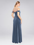 RightBrides Zelaya Dusty Blue Velvet Bridesmaid Dresses    Long Stretch Velvet Bridesmaid Dresses