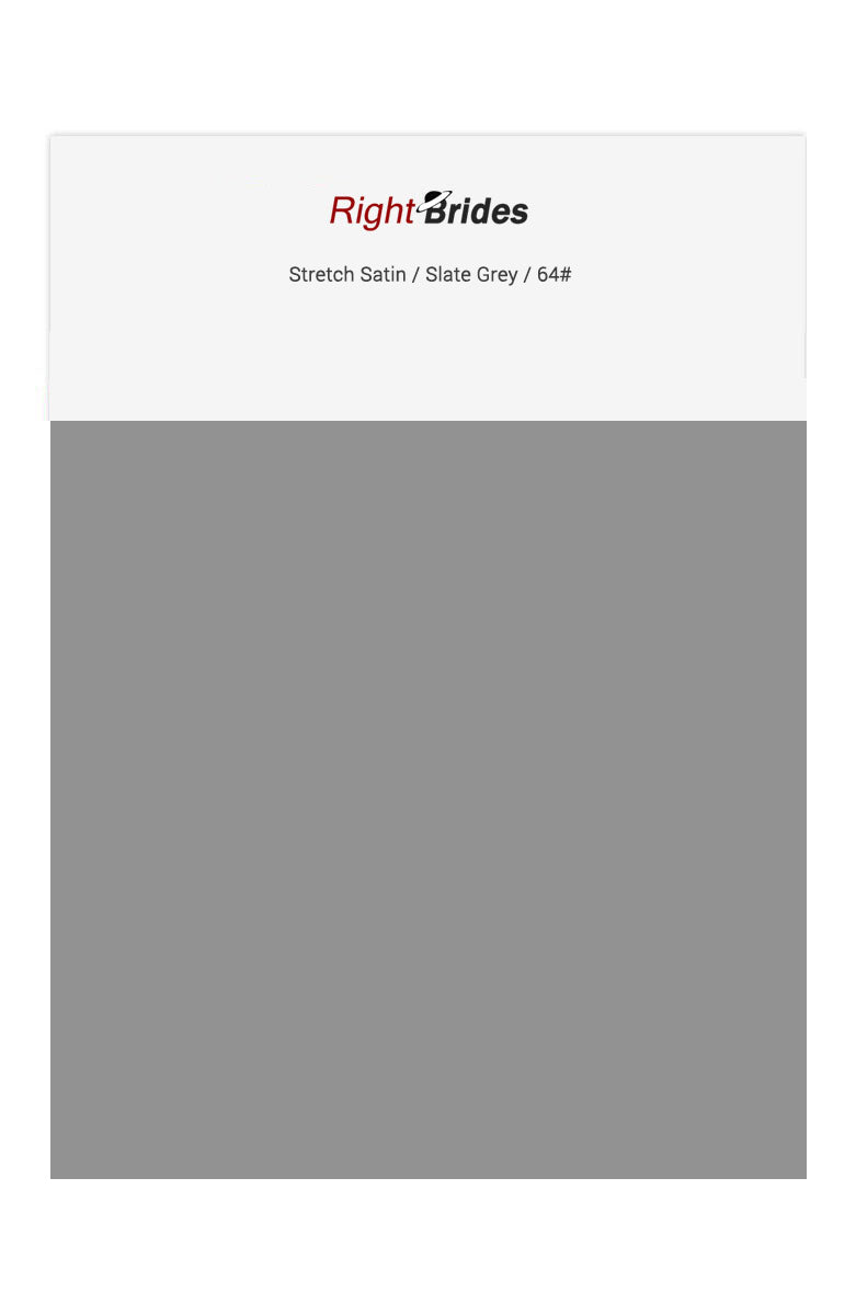 Slate Grey Color Swatches for Stretch Satin Bridesmaid Dresses