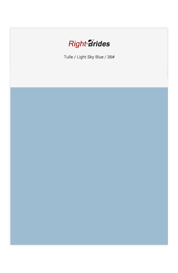 Light Sky Blue Color Swatches for Tulle Bridesmaid Dresses