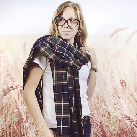 Blue and Green Tartan Wrap Scarf