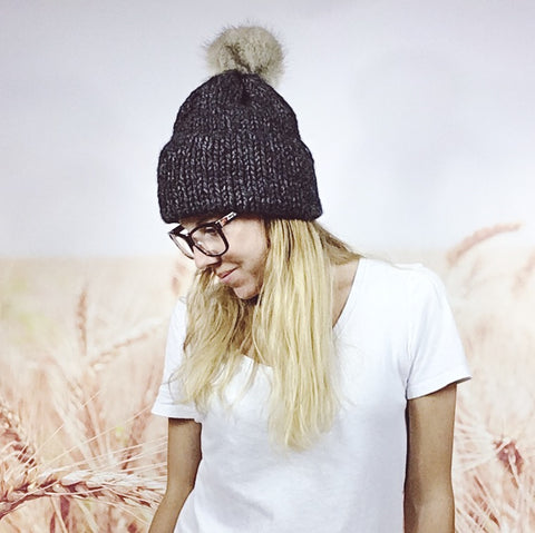Chunky Knit Double Brim Beanie Hat with Faux Fur Pom Pom in Charcoal
