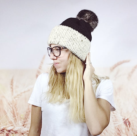 Color Block Double Brimmed Hat with Faux Fur Pom Pom in Oatmeal & Black