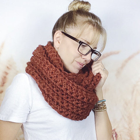 Limited Edition Pumpkin Spice Crochet Infinity Loop Scarf for Fall - Wheatfield Knitwear